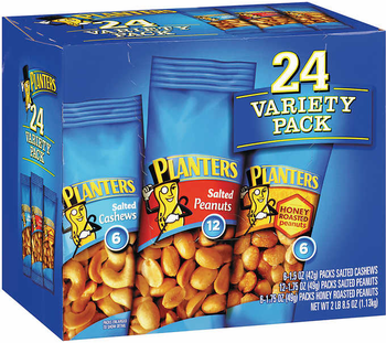 Planters Variety Pack, 6-1.5 Oz Packs Salted Cashew, 12-1.75 Oz Packs Salted Peanut, 6-1.75 Oz Packs Honey Roasted Peanut (24 Count)
