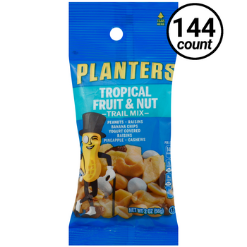 Planters Trail Mix, Tropical Fruit & Nut, 2 Oz Tube (144 Count)
