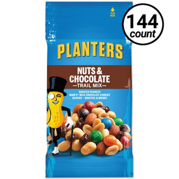 Planters Trail Mix, Nuts & Chocolate, 2 Oz Tube (Case of 144)