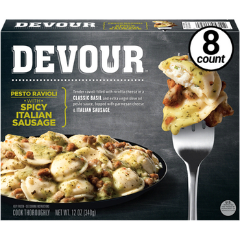 Devour Pesto Ravioli w/Spicy Italian Sausage, 12 Oz (8 Count)