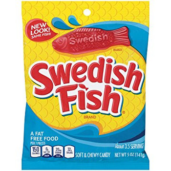 Swedish Fish, Soft and Chewy Candy, 5.0 oz. peg bag (1 count)