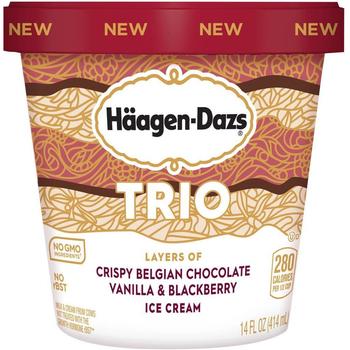 Haagen-Dazs, TRIO Vanilla Blackberry Chocolate, Pint (1 Count)