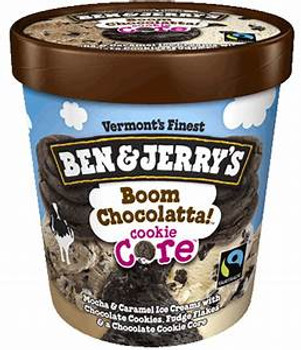 Ben & Jerry's, Boom Chocolatta Cookie Core Ice Cream, Pint (1 Count)