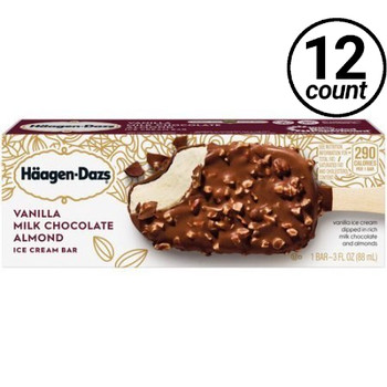 Häagen-Dazs, Vanilla Milk Chocolate Almonds Bar, 3.67 oz (12 count)
