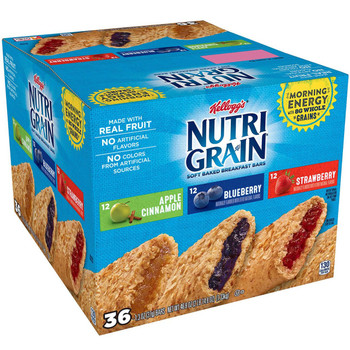Kellogg's Nutri-Grain Cereal Bar, Variety Pack/12 Strawberry/12 Blueberry/12 Apple Cinnamon, 1.3 Oz (36 count)
