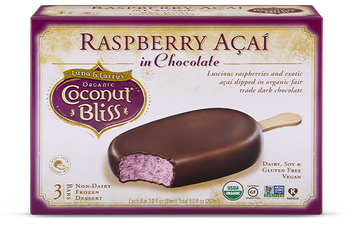 Luna & Larry's Coconut Bliss, Raspberry Acai in Chocolate Bars, 3oz. bar (3 Count)