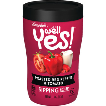Campbell's Soup, Well Yes, Roasted Red Pepper & Tomato, 11.1 Oz Microwavable Can (1 count)