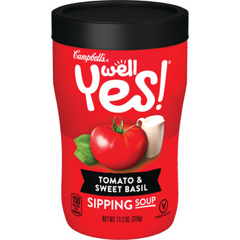 Campbell's Soup, Well Yes, Tomato & Sweet Basil, 11.1 Oz Microwavable Can (1 count)