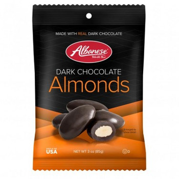 Albanese Dark Chocolate Covered Almonds, 3 oz. Gusseted Peg bag (1 count)
