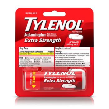 Tylenol Extra Strength, Blister Pack Vials, 10-Caplets (1 Count)
