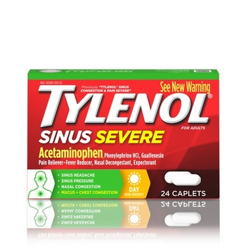 Tylenol Severe Sinus & Congestive Pain, Daytime/ Non-Drowsy, 24-Caplets (1 Count)