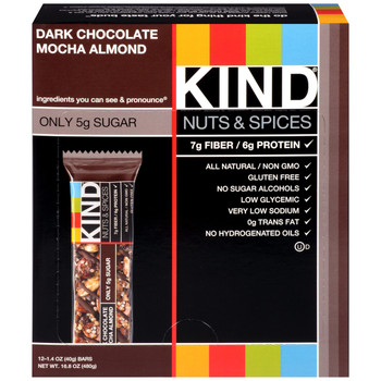 KIND Nuts & Spices, Dark Chocolate Mocha Almond, 1.4 Oz Bars (12 Count)