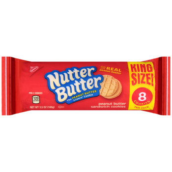 Nabisco Nutter Butter Sandwich Cookies, King Size, 8 Cookies per Pack, 3.5 Oz Pack (10 Count)