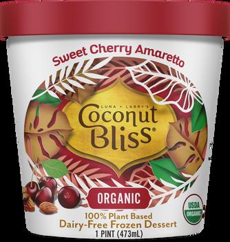 Luna & Larry's Coconut Bliss, Sweet Cherry Amaretto Vegan Ice Cream - Organic - Gluten Free (Pint)