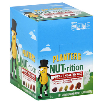 Planters Nutrition Heart Healthy Mix, 1.5 Oz Tube (18 Count)