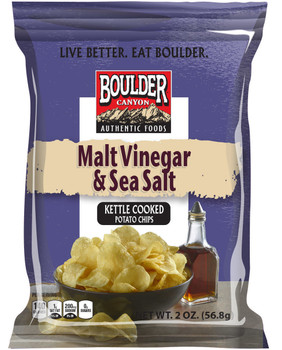 Boulder Canyon Natural Foods, Malt Vinegar & Sea Salt Kettle Cooked Potato Chips, 2.0 oz. Bag (1 Count)