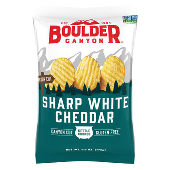 Boulder Canyon Natural Foods, Sharp White Cheddar, 6 oz. Bag (12 Count)