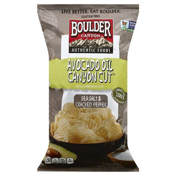 Boulder Canyon Authentic Foods, Avocado Oil, Sea Salt & Cracked Pepper , 5.25 oz. Bag (12 Count)