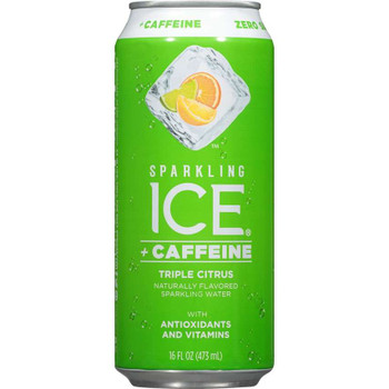 Sparkling Ice + Caffeine, Triple Citrus Sparkling Water with Antioxidants and Vitamins, 16 oz. (12 Count)