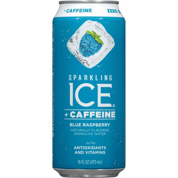 Sparkling Ice + Caffeine, Blue Raspberry Sparkling Water with Antioxidants and Vitamins 16 oz. (12 Count)