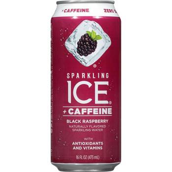 Sparkling Ice + Caffeine, Black Raspberry Sparkling Water with Antioxidants and Vitamins 16 oz. (12 Count)