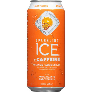 Sparkling Ice + Caffeine, Orange Passionfruit Sparkling Water with Antioxidants and Vitamins 16 oz. (12 Count)