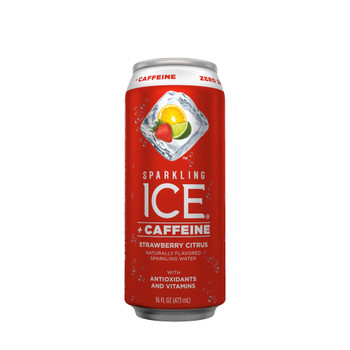 Sparkling Ice + Caffeine, Strawberry Citrus Sparkling Water with Antioxidants and Vitamins 16 oz. (12 Count)