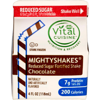 MightyShakes, NSA Chocolate Fortified Shake Beverage, 4 Ounce , (50 count)