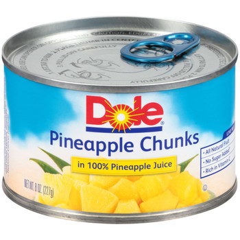 Dole, Pineapple Chunk in 100% juice, EZ Open Can, 8 oz. (12 count)