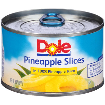 Dole, Pineapple Slices in 100% juice, EZ Open Can, 8 oz. (12 count)
