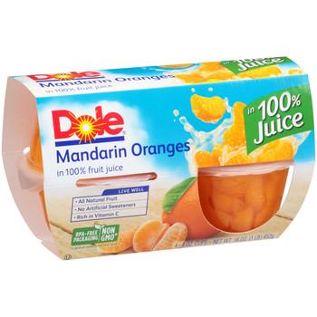 Dole, Mandarin Oranges in 100% juice, 4 oz. (24 count)
