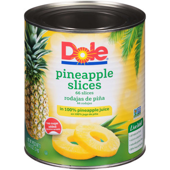 Dole, Sliced Pineapple in Pineapple Juice, #10 can, 107 oz. (6 count)
