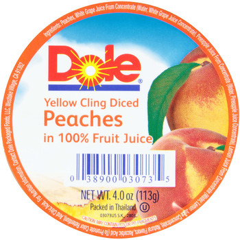 Dole, Diced Peaches in 100% juice, 4 oz. (36 count)