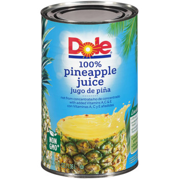 Dole, 100% Pineapple Juice Not From Concentrate, 46 oz. (12 count)