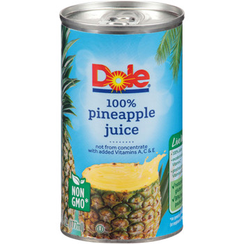 Dole, 100% Pineapple Juice Not From Concentrate, 6 oz. (48 count)