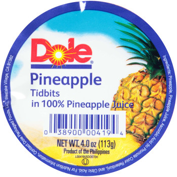 Dole, Pineapple Tidbits  in 100% Pineapple Juice, 4 oz. (36 count)