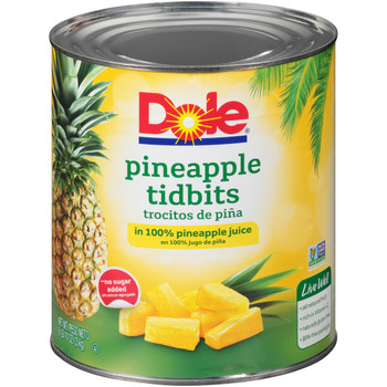 Dole, Pineapple Tidbits in 100% Pineapple Juice, #10 can, 100 oz. (6 count)