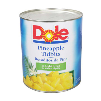 Dole, Pineapple Tidbits in Light Syrup, #10 can, 106 oz. (6 count)