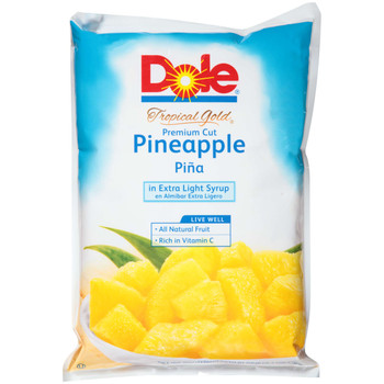 Dole, Tropical Gold Premium Cut in Extra Light Syrup Chunk Pineapple, 81 oz. (6 count)
