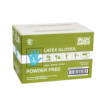 HGI Valugards, Large Powder Free Latex Glove, 100 Gloves Per Box, 10 Boxes Per Case