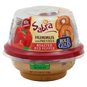 Sabra, Red Pepper Hummus with Pretzels, Grab & Go, 4.56 Oz Cup (12 Count)