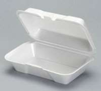 Genpak, 9.5 Inch X 5.25 Inch X 3.5 Inch White Large Hoagie Foam Hinged Container, (200 count)