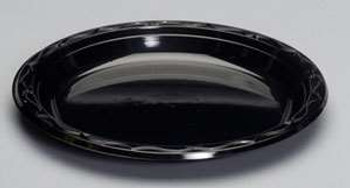 Genpak, Silhouette 10.25 Inch Black Plastic Plate, (400 count)