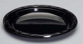 Genpak, Silhouette 9 Inch Black Plastic Plate, (400 count)