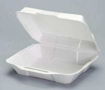 Genpak, Medium HI-VOLUME Foam Hinged Dinner Container, 8.88 x 9.25 x 3, White (200 count)