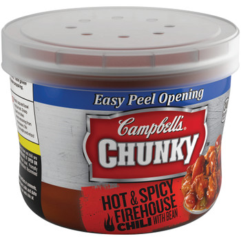 Campbell's Chunky Chili, Firehouse Hot & Spicy Beef & Bean, 15.25 oz. Microwavable Bowl (1 Count)