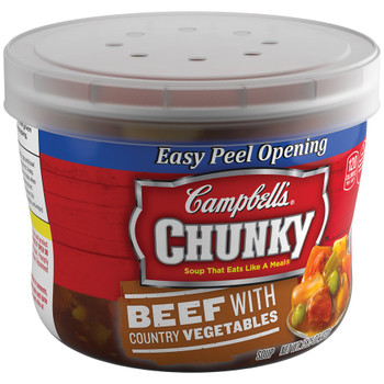 Campbell's, Chunky Soup, Beef with Country Vegetables, 15.25 oz. Microwavable Bowl (1 Count)