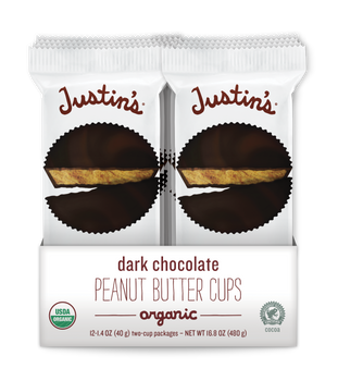 Justin's, Dark Chocolate Peanut Butter Cups, 1.4 oz. (12 Count)