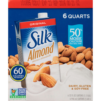 Silk, Aseptic Original Pure Almond Milk, 1 qt. (6 Count)