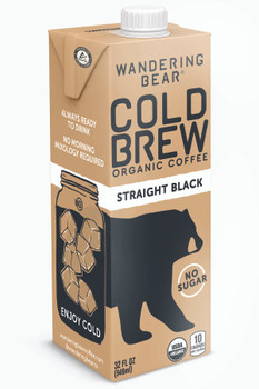 Wandering Bear, Black Cold Brew Bright White Coffee, 32 oz. (6 Count)